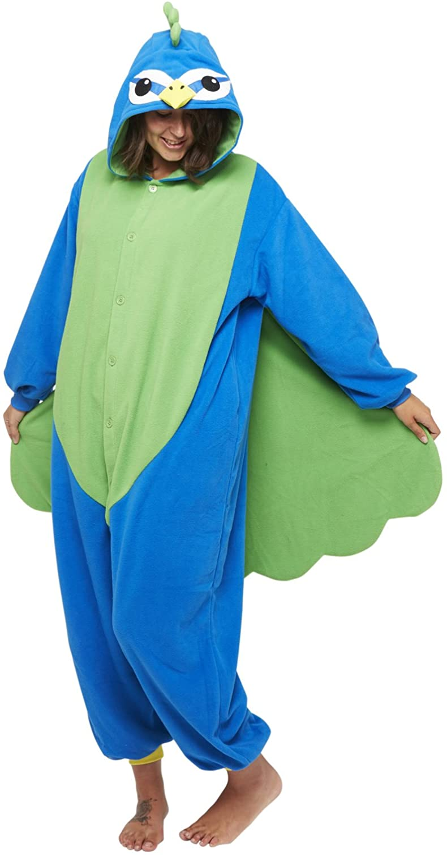 SAZAC Kigurumi - Pijama de forro polar de pavo real
