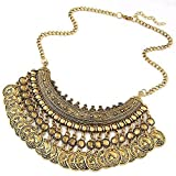 Intricate Bohemian Tribal Bib Multi Coin Necklace by Pashal (Gold)