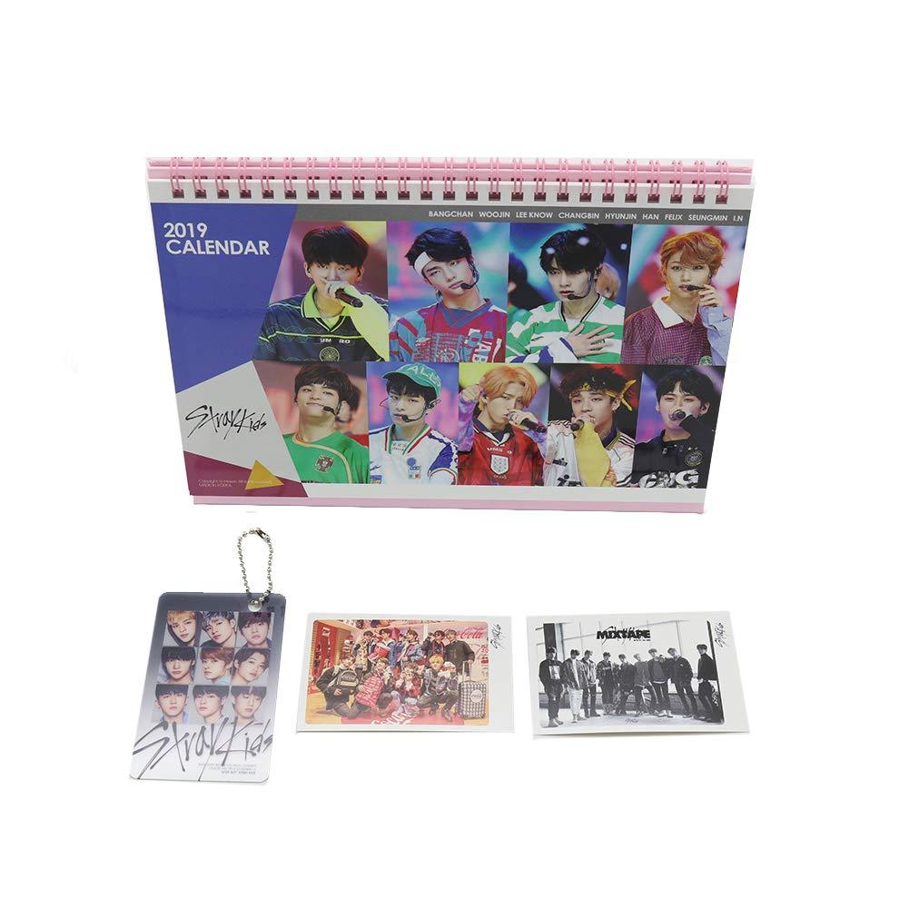 Stray Kids KPOP calendario da tavolo con portachiavi e mini photo Cards Idolgoods