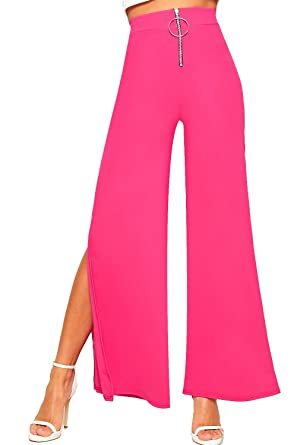 43d0be2e3db WearAll Women s Split Wide Flared Leg Crepe Zip Plain Stretch Pants Trousers  at Amazon Women s Clothing store