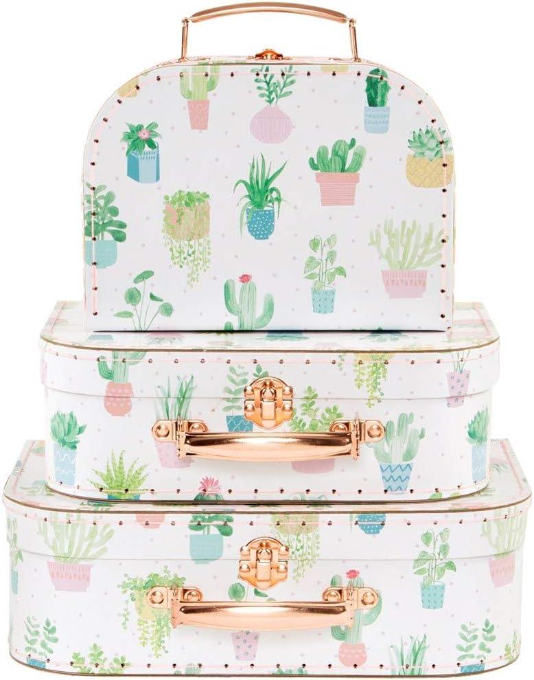 Sass & Belle Pastel Cactus Suitcases (Set of 3) [Importación inglesa]