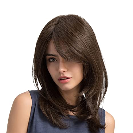 Anself 19\' Perruques Brun Cheveux Longs