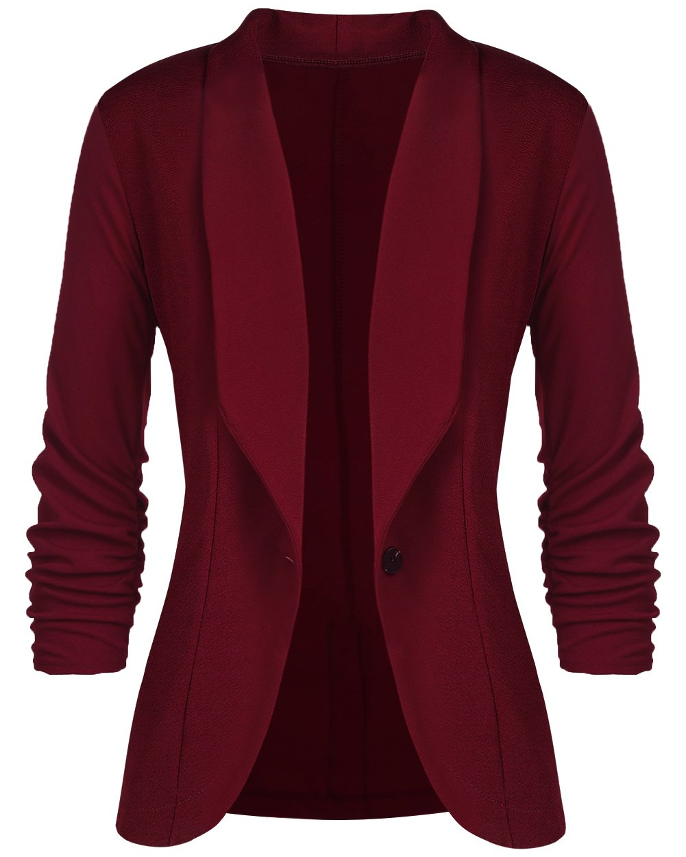 sanatty Women's 3/4 Ruched Sleeve Open Front Lightweight Work Office Blazer Jacket,Winered,Small by sanatty (Image #1)