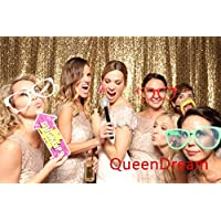 QueenDream Gold Sequin backdrop photography for wedding -8ft x 8ft