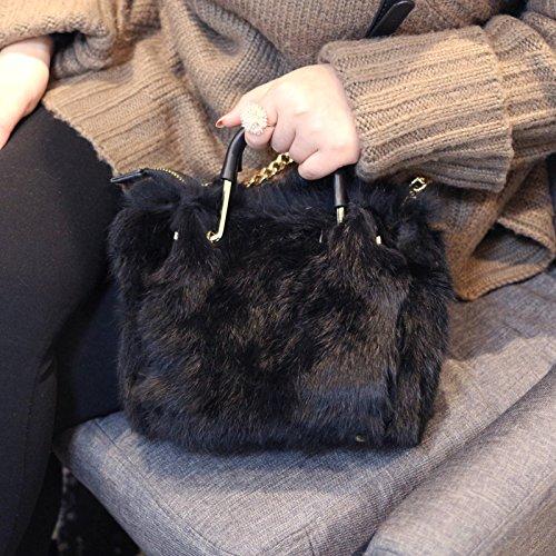 Fourrure Mignon Bandoulière Nouveau Otomoll Cuir Designer Épaule Artisane Le À En Coréen All Sac Match Fourrure black D'Hiver Main Mode aYxqB5Y