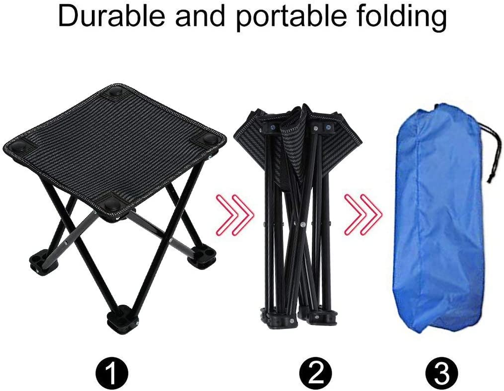 Garne T Mini Portable Folding Stool,Slacker Chair Outdoor Folding Chair for Camping,Fishing,Travel,Hiking,Garden,Beach Quickly-Fold Chair Oxford Cloth with Carry Bag