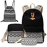 Alando Canvas Dot Backpack Cute Lightweight Teen Girls Backpacks School Shoulder Bags (Black) by Alando