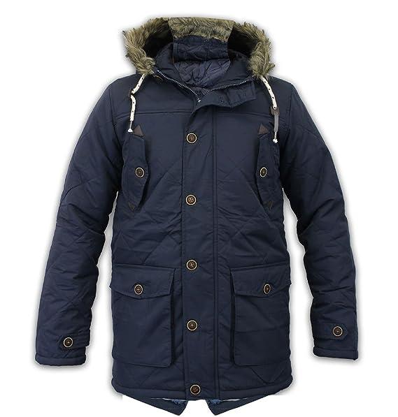 94201cadec302 Para hombre con capucha con borde de pelo Parka acolchada chaqueta acolchada  de invierno abrigo cola de pescado estilo todos los tamaños negro azul  marino ...