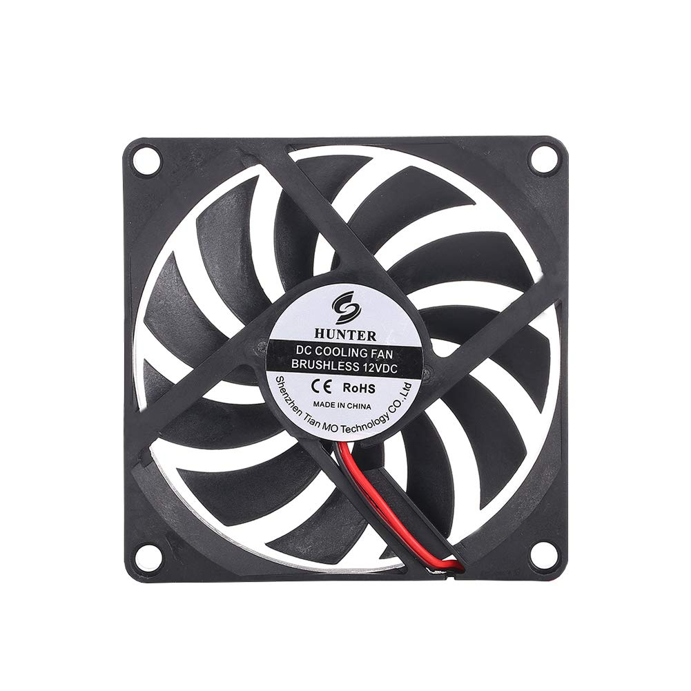HUNTERFAN HF-R8S 80mm x 10mm 1.9Watt DC 2PIN 12V 80mm Silent Fan for Computer Cases and CPU Coolers