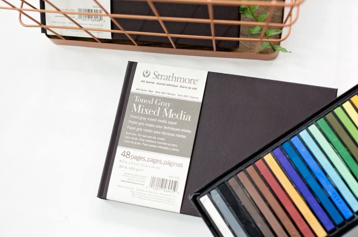 Strathmore Hardbound Mixed Media Art Journal Product Dimensions: 11.25 x 8.75 x 0.75 inches Toned Gray 8.5 inch x 11 inch 48 Pages