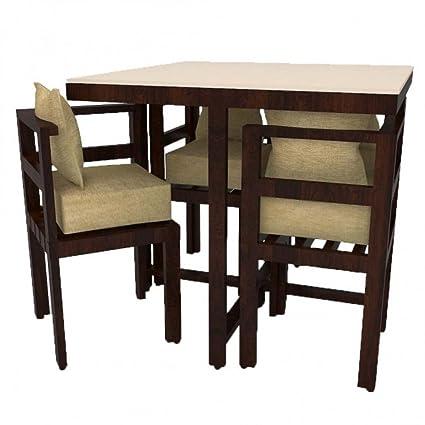 Funterior Compact Design Marble Finish Teak Wood 4 Seater