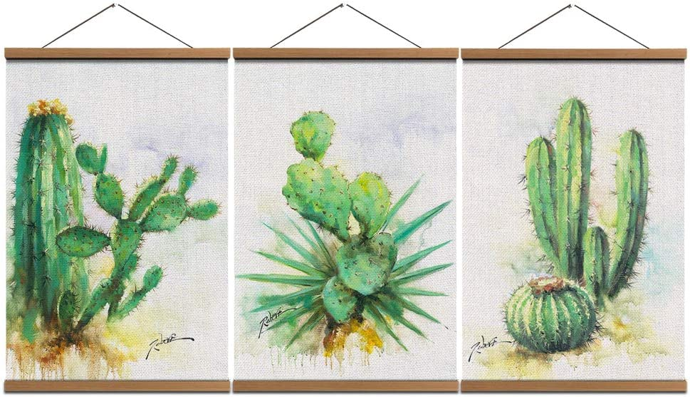 Cactus Wall Art Painting Hanging Poster - Linen Canvas Prints Desert Plant Pictures with Scroll Teak Wood Hanger Ready to Hang for Home Decoration Kitchen Decor 16x24inchx3pcs