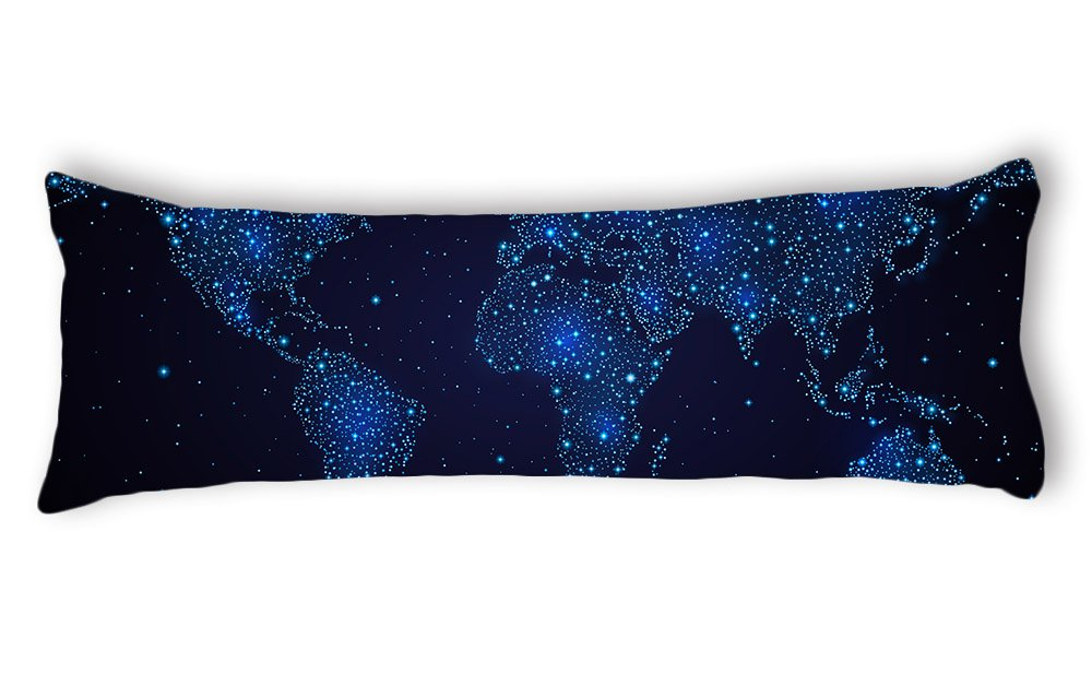 AILOVYO Galaxy World Map Machine Washable Silky Shiny Satin Decorative Body Pillow Case Cover, 20-Inch x 54-Inch