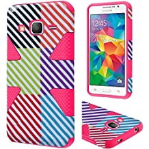 HR Wireless Carrying Case for Samsung Galaxy Grand Prime LTE - Retail Packaging - Colorful Lines/Hot Pink