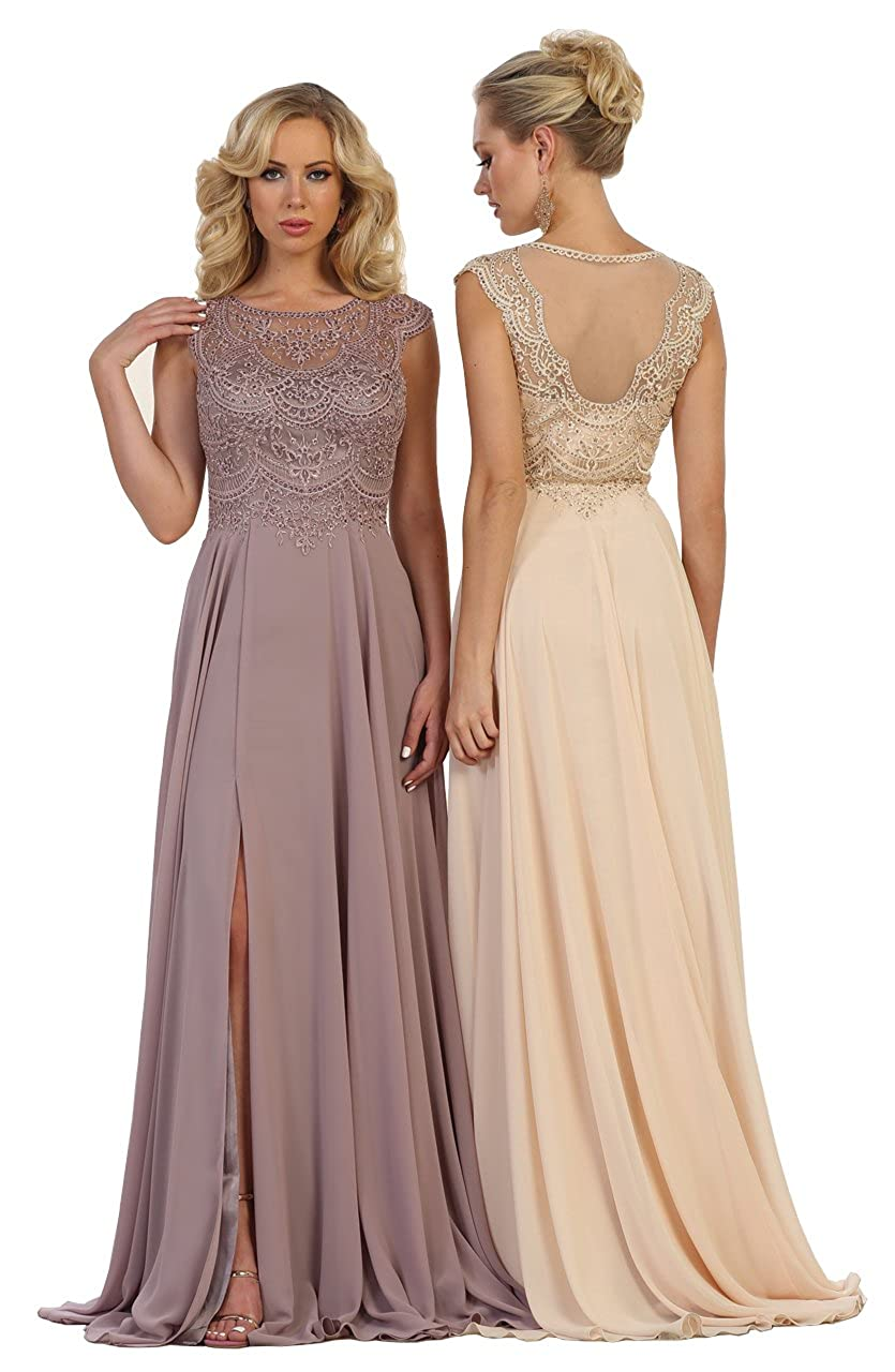 Dusty pink Formal Dress Shops Inc FDS1563 Prom Formal Long Gown