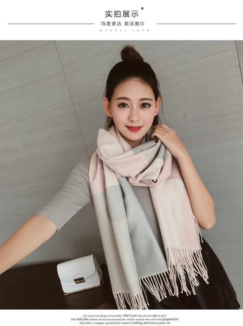 Generic Department of small fresh Beautiful sided fight color fringed plaid cashmere scarves dual women girls lady warm shawl School