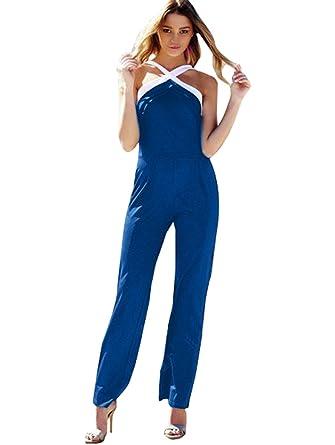 DaBag-Femme Combinaison Chic Longue Pantalon Grande Taille Jumpsuit Sans  Bretelles Croisé Barboteuses Été Soiree 0371a891d64a