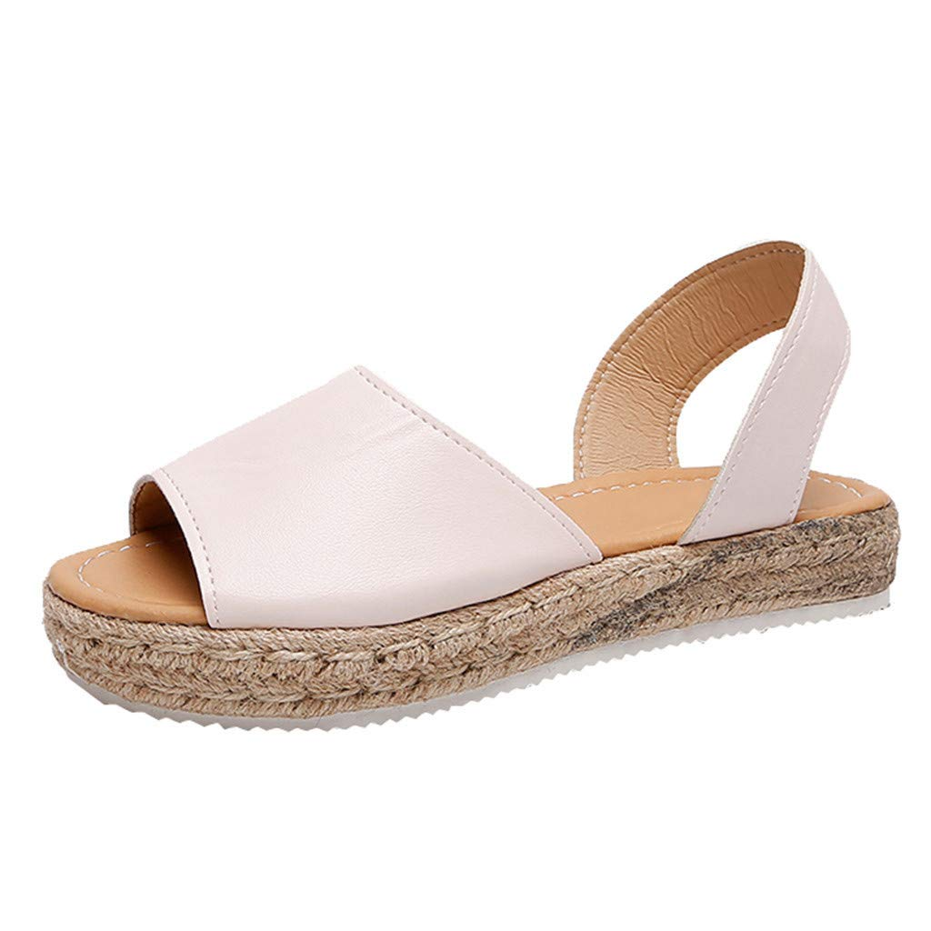 〓COOlCCI〓Women's Casual Ankle Strap Open Toe Sandals Espadrille Platform Wedge Sandals Slingback Wedge Sandals Pink
