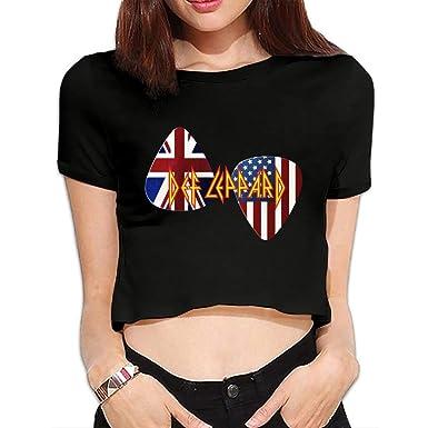cf42684d0d8 Mieba Women's Def Leppard Tour Journey 2018 Leppard Ori Gembok Fashion  Summer Bare Midriff Crop Top ?Tee ? ?Black at Amazon Women's Clothing store: