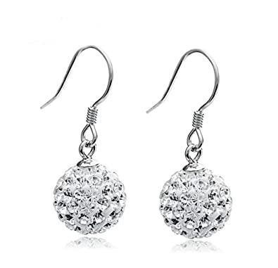 6c1ea5d31c50d Gintan 925 Sterling Silver Crystal Ball Drop Earrings, (10 25mm)