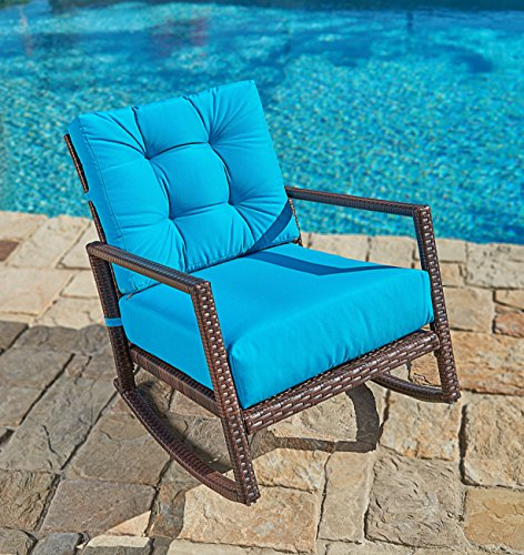 Suncrown Outdoor Furniture Teal Patio Rocking Chair | All-Weather Wicker Seat with Thick, Washable Cushions, Velcro Straps | Backyard, Pool, Porch | Smooth Gliding Rocker with Improved Stability - Patio Furniture Rocking Chairs