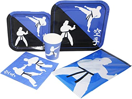 Amazon Com Blue Orchards Karate Deluxe Party Packs 70 Pieces For 16 Guests Karate Birthday Supplies Tableware Sets Martial Arts Party Toys Games
