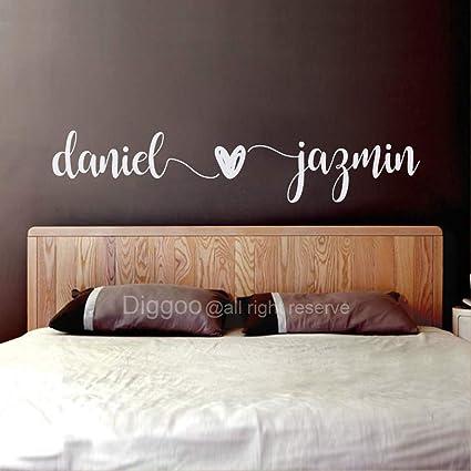 Custom Couple Names Wall Decal Husband Wife Names Decal Master Bedroom Wall  Decor Wedding Gift Romantic Wall Art (4.5\