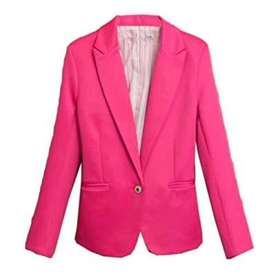 Abetteric Women's 1 Button Tuxedo Blazer Fit Lapel Blazer