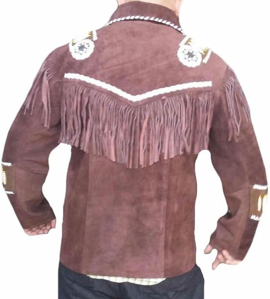 Stormwise Mens Western Cowboy Fringed /& Boned Coat