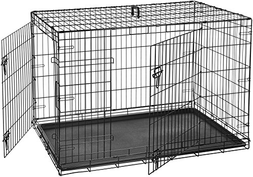 AmazonBasics Double-Door Folding Metal Dog Crate Cage - 48 x 30 x 32.5 Inches