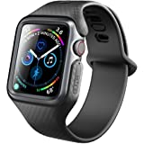 Clayco Apple Watch 4 Band 44mm, [Hera Series] Ultra Slim Protective Shock Resistant Bumper Case with Strap Bands for 44mm Apple Watch Series 4 2018 (Black)