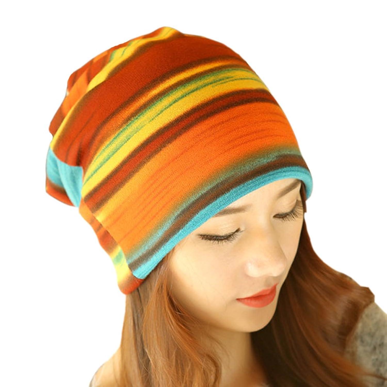 Women's Winter Fleece Rainbow Stripes Convertible Beanie Hat Cap Hood Headgear