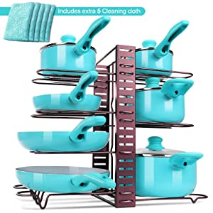 Heavy Duty Pots and Pans Organizer, multi-functional multi-layer Pot Rack, Kitchen Supplies, adjustable floor rack, three-dimensional storage,Perfect Kitchen Organizer with a Pan Protector