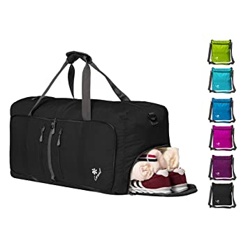 Coreal 60L 80L Duffel Bag for Travel Luggage with Shoe Compartment Black faa2eae9ed5ac