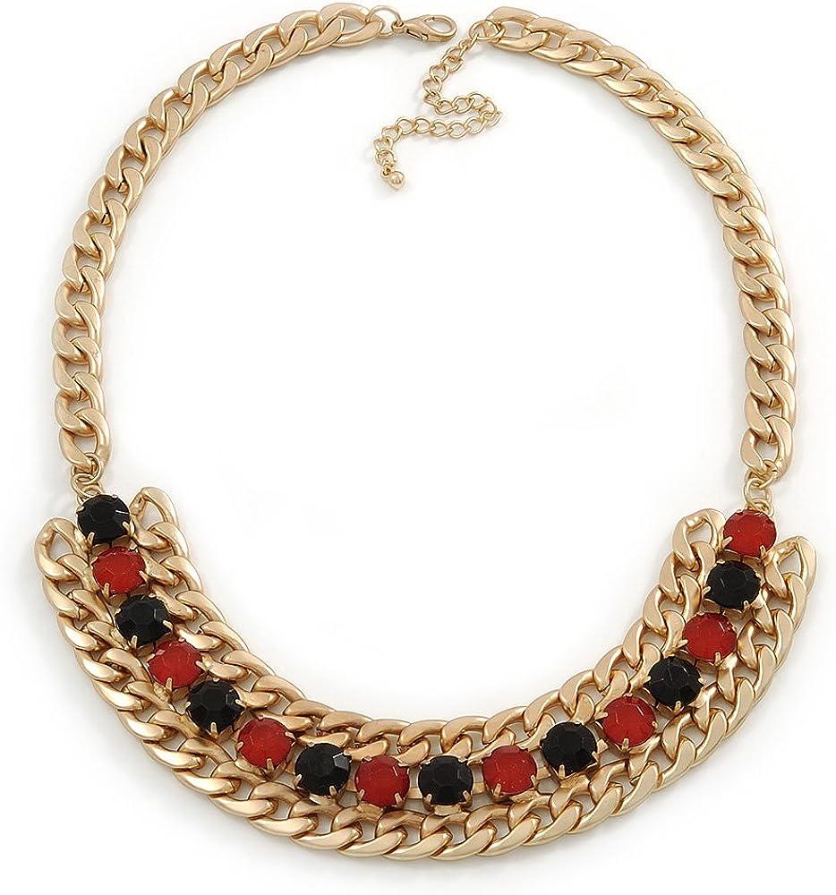 Collar de cadena de oro de gruesos de babero rosa/negro piedras de acrílico - 44 cm L/7 cm Ext