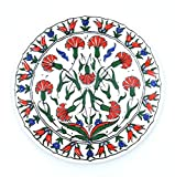 Handmade Turkish Ceramic Pottery Round Tile Trivet (Red Floral)