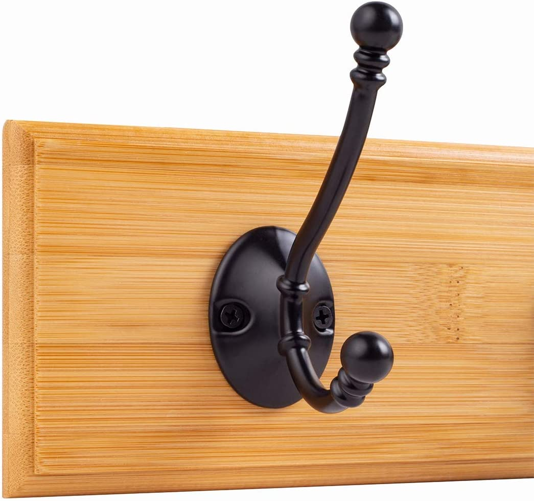 Encozy Mounted Coat Hooks for Wall Stainless Steel Rack (Black 2PCS) Black Hook