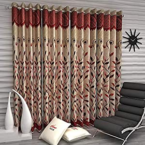 Home Sizzler Polyester Blend 7 ft Curtains (Red) – Set of 4