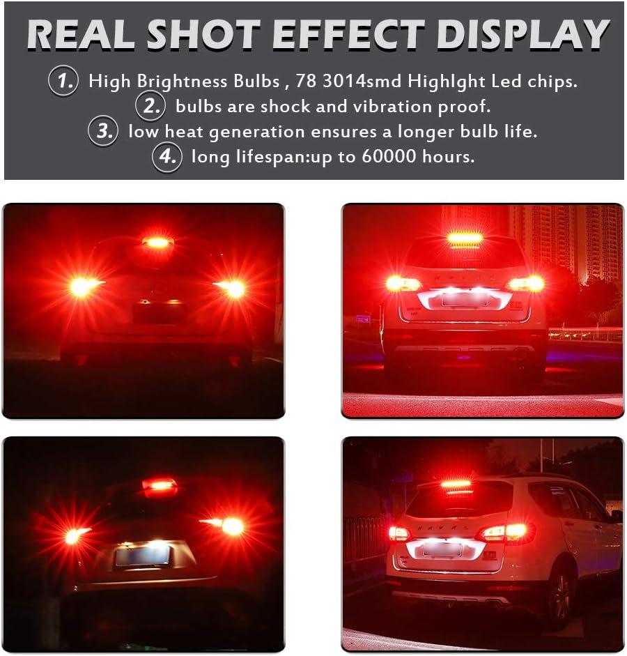 Stop Parking Lights Brake Lights Red Reverse Lights NATGIC 1157 BAY15D 2057 2357 7528 LED Bulbs 1800LM 3014SMD 78-EX Chipsets with Lens Projector for Backup Lights 12-24V Tail Lights Pack of 2