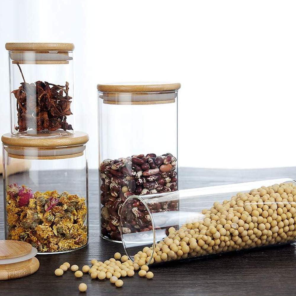 Cereali Chicchi di Caff/è Tyelany Barattoli Vetro Ermetici Set Barattolini per Spezie 5 Vasetti di Vetro con Coperchio con Anello in Silicone 265//330//400//500//600ml Contenitori per Caramelle