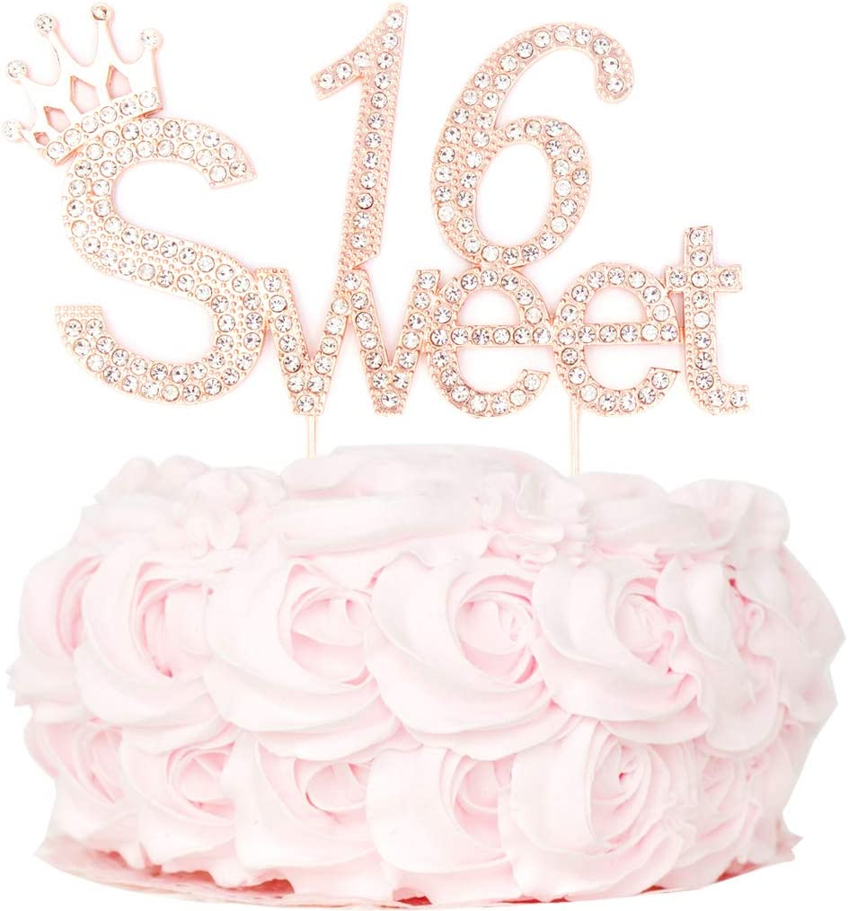 Sweet 16 Cake Topper 16 Perfect Keeps Quality Metal Alloy Rose Gold Sweet Sixteen Rhinestone Cake Topper Premium Sparkly Bling Crystal Diamond Rhinestone Gems 16th Birthday Party Decorations