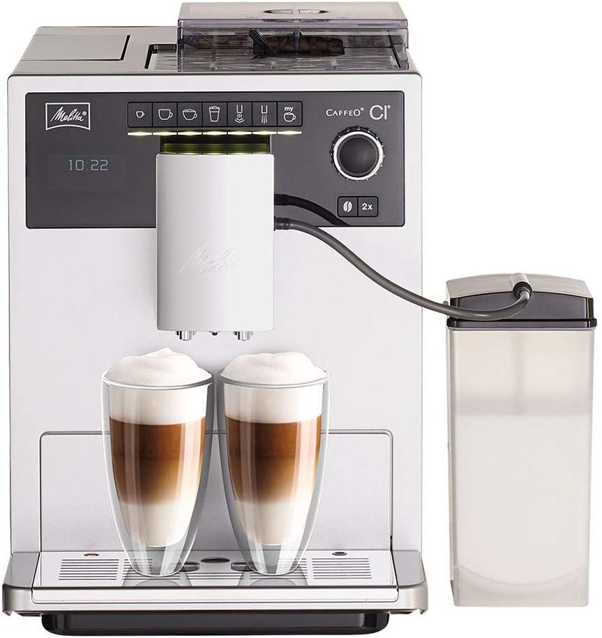 Melitta CAFFEO Ci, Plata Máquina de café, 1400 W, 1.8 litros, 15 Decibelios, Acero Inoxidable
