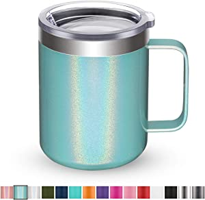 Civago Stainless Steel Coffee Mug Cup with Handle, 12 oz Double Wall Vacuum Insulated Tumbler with Lid Travel Friendly (Mint Shimmer, 1 Pack)