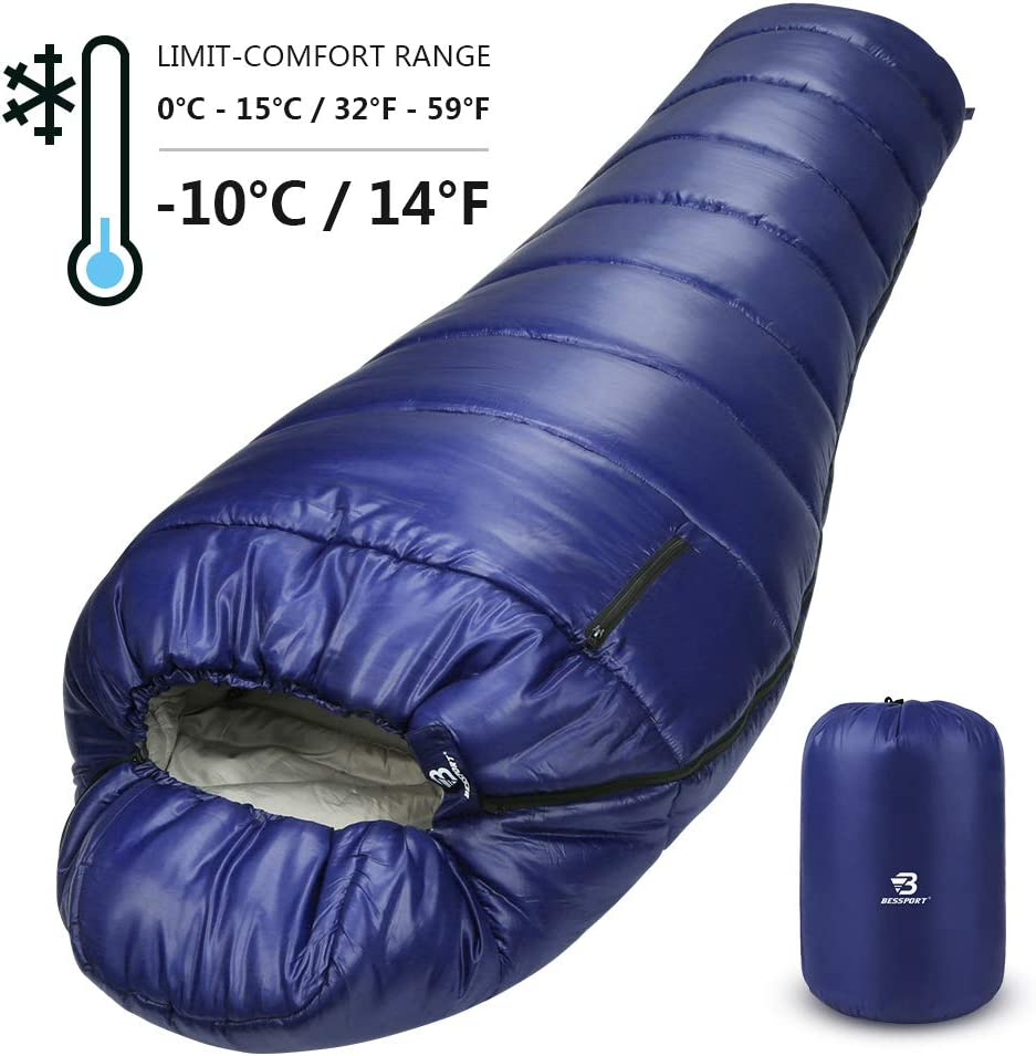 Bessport Schlafsack Ultraleicht, Füllung Deckenschlafsack mit Kompressionsbeutel für Sommer Camping,Blue: Amazon.es: Deportes y aire libre