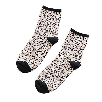 ZHRUI Calcetines de Mujer para Mujer Calcetines con Estampado de Leopardo de Invierno cálido Grueso Grueso