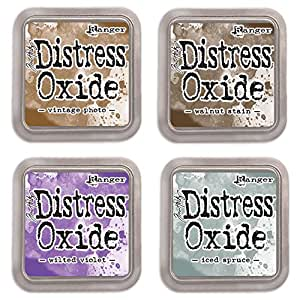 Ranger Tim Holtz Distress Oxide Ink Pads - Vintage Photo, Walnut Stain, Wilted Violet and Iced Spruce