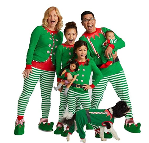 Matching Family Sleepwear Christmas ELF Printing Letters Pajamas Set with  Green Striped Pants A13 at Amazon Women s Clothing store  1415104bd