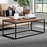 extra large coffee table Nathan James 31101 Doxa Modern Industrial Coffee Table Wood and Metal Box Frame, Dark Brown/Black