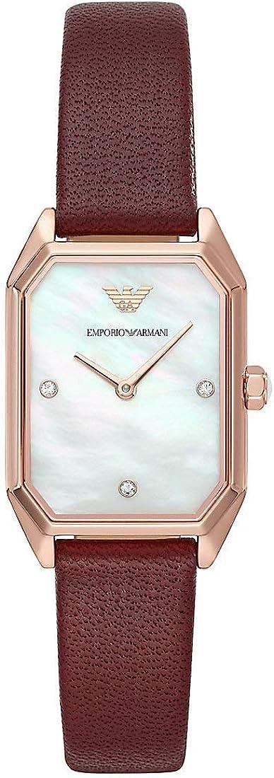 Emporio Armani Set de Regalo para Mujer,Pendientes y Reloj con Esfera Cuadrada en Acero Inoxidable y Correa de Cuero tonalidad Burdeos AR80028