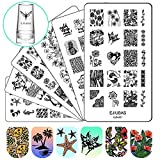 Ejiubas Nail Stamper Stamping Plates Nail Stamping Kit - 3pcs Double-sided Nail Stamp